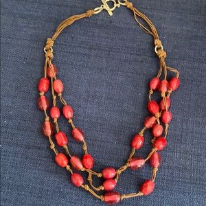Women's Red Beaded Necklace